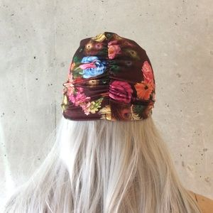 Unique Styles hat Accessories - 🌸NEW BROWN PEACOCK FLORAL TURBAN HEAD WRAP  CAP fe6f14dcc3a1